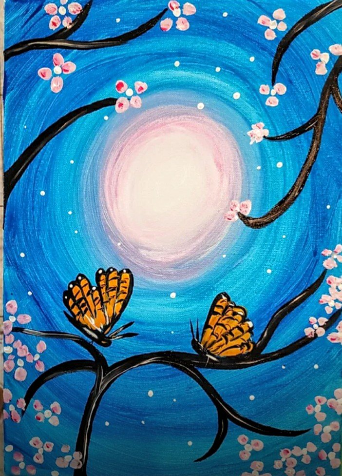 Paint Party – Butterflies on Branch – Tuesday, July 28th at 3:00 – 4:30 pm ET