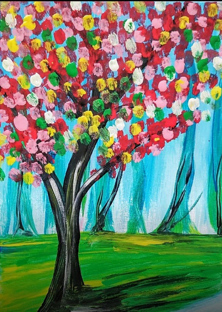 Paint Party –  Colorful Tree – Sunday, August 9th from 3:00 pm – 4:30 pm ET